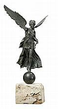 An Italian patinated bronze model of a winged Victory, late 19th century