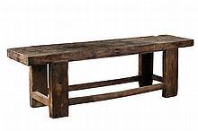 An Italian rough hewn walnut table , 19th century