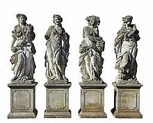 A set of four Continental sculpted limestone models of maidens...