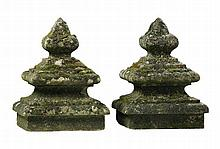 A pair of French limestone pier or gatepost finials, 19th century