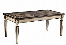 A reverse decorated glass topped painted wood dining or centre table