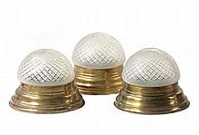 A set of three polished brass and cut glass plafonniers, early 20th century