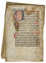 A Jester holding his staff, - full-length portrait in body of a large initial on a bifolium from...