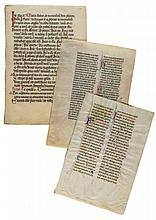 Three leaves from Missals, - in Latin, decorated manuscripts on vellum [twelfth to fifteenth...