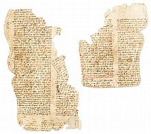 Four fragments from a Digest of Justinian Law - manuscript, most probably reused for lining fabric, on paper [Italy