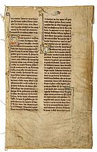 Three leaves from the Chronique dite - de Baudouin d'Avenes, in French, illuminated manuscript on...