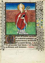 Leaf with Suffrages to SS. Leonard of Noblac - and Florent, on single leaf from an illuminated Book of Hours