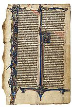 Bible leaf with numerous - interlacing animals and birds in its border