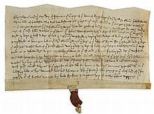 Charter issued by Thomas, lord of Hawkesworth, - Yorkshire , recording an exchange of local estates between him