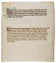 Leaf from a Censier, a book of rents, - owed to the lordship of La Chapelle, in French