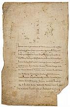 The relic list of Bishop Werinharius of Merseburg, - single leaf from a Romanesque manuscript, in Latin