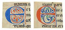 Eleven decorated initials on cuttings - from a Romanesque Bible manuscript, in Latin, on parchment [France