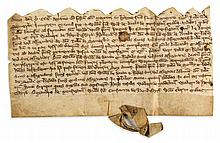 Four charters recording - a lease of meadow land in Menston, Yorks., and a grant of Nicholas