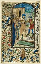 Lazarus Raised from the Dead, - large miniature on a leaf from an illuminated Book of Hours