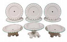A Belleek porcelain part dessert service , Greek pattern, comprising