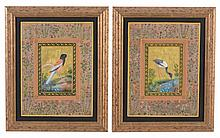 A set of ten Persian painted and parcel gilt pictures of birds, Qajar