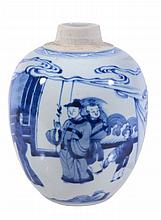 An attractive blue and white jar, painted with figures before a building
