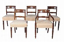 A set of five Regency mahogany dining chairs, circa 1815