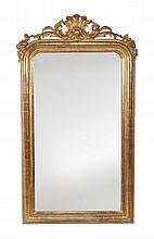 A French giltwood and composition pier wall mirror, late 19th century