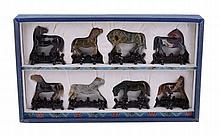 A Carved Hardstone Set of the Eight Horses of Mu Wang , 20th entury