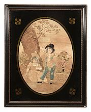 A pair of late George III silkwork pictures of children in rustic settings