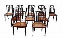 A set of ten mahogany dining chairs in Recency style