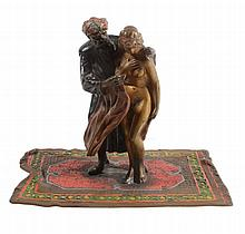 An Austrian cold painted bronze erotic group, early 20th century