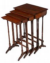 A harlequin set of rosewood quartetto tables , first quarter 19th century