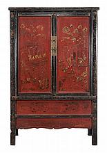 A Chinese red and black lacquer cupboard, 19th century