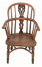 A yew and elm child's Windsor arm chair , second quarter 19th century