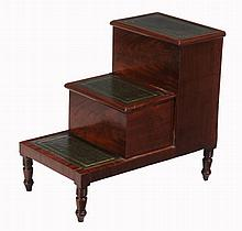 A set of mahogany library steps, second quarter 19th century