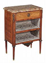 A French kingwood, tulipwood and marble mounted side cabinet in Louis XVI style