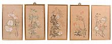 A set of five Chinese silk paintings, variously painted with flowers and...