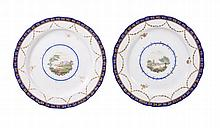 A pair of Derby porcelain plates painted in the manner of Thoms 'Jockey' Hill