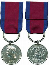 WATERLOO MEDAL, 1815, with original iron clip and contemporary replacement...
