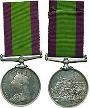 An Emotive Maiwand Casualty Medal, awarded to Private William James, 66th Foot