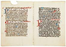 Collection of leaves - from decorated medieval manuscripts, all in Latin on parchment...