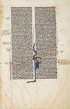 Single leaf - from a decorated manuscript Bible, with a historiated initial...