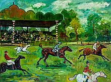 Simeon Stafford (b.1956), Horse racing, Oil on