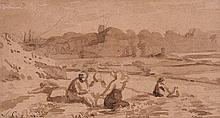 Joshua Cristall (1767-1847), Figures by a river
