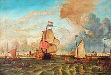 Manner of Willem van der Velde, Shipping off the