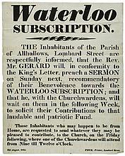 Waterloo.- - Waterloo Subscription, printed broadsheet, folds, browned