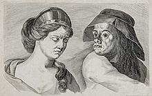 Johann Daniel Herz (1693-1754) - Bust portrait of a young lady and a man wearing a hat,