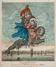 Dighton (Robert) - Geography Bewitched! or, a droll Caricature Map of England and Wales,