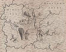 Middlesex.- Drayton (Michael) - Map of Middlesex and Hertfordshire for the Poly-olbion,