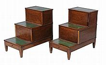 A pair of oak library step commodes, second half 19th century