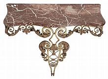 A Continental wrought iron and marble mounted console table