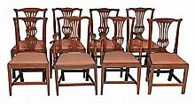 A set of eight oak dining chairs, late 18th/early 19th century