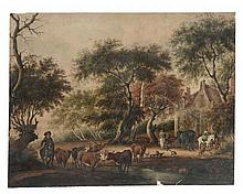 Dutch School (19th Century) - Cattle wattering in a woodland setting with horse and carriages and a house