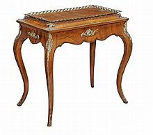 A Victorian walnut, marquetry and gilt metal mounted jardinere table